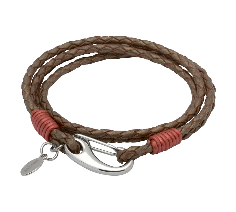 Unique & Co Ladies Bronze Leather Bracelet B194BR - Hamilton & Lewis Jewellery
