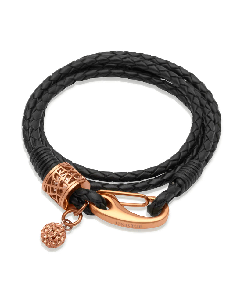 Unique & Co Ladies Black Leather Bracelet B218BL - Hamilton & Lewis Jewellery