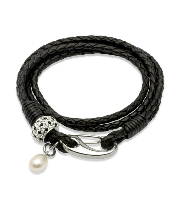 Unique & Co Ladies Black Leather Bracelet B223BL - Hamilton & Lewis Jewellery