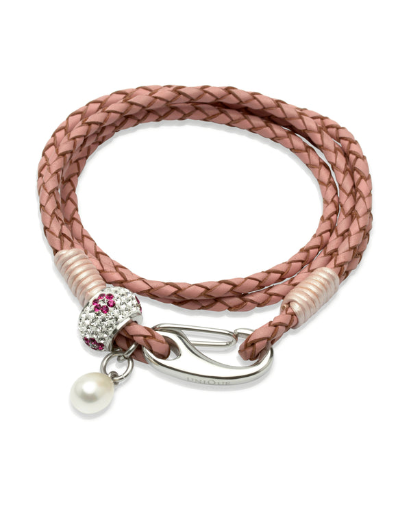 Unique & Co Ladies Pink Leather Bracelet B224PI - Hamilton & Lewis Jewellery