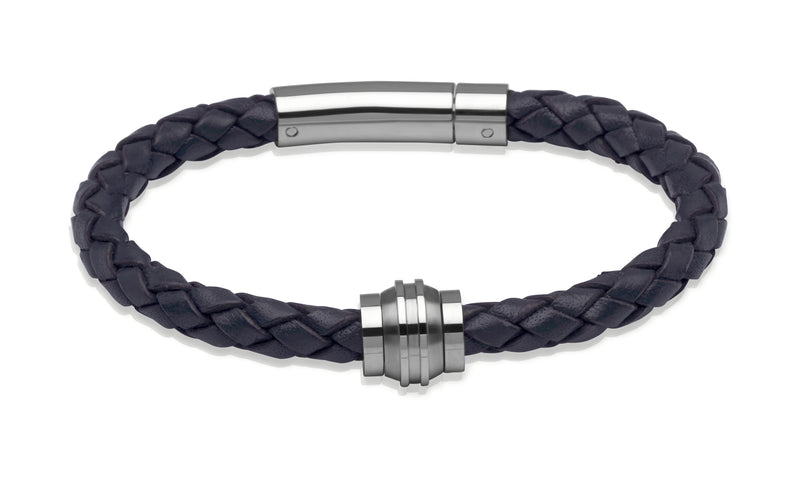Unique & Co Navy Leather Bracelet B227NV - Hamilton & Lewis Jewellery