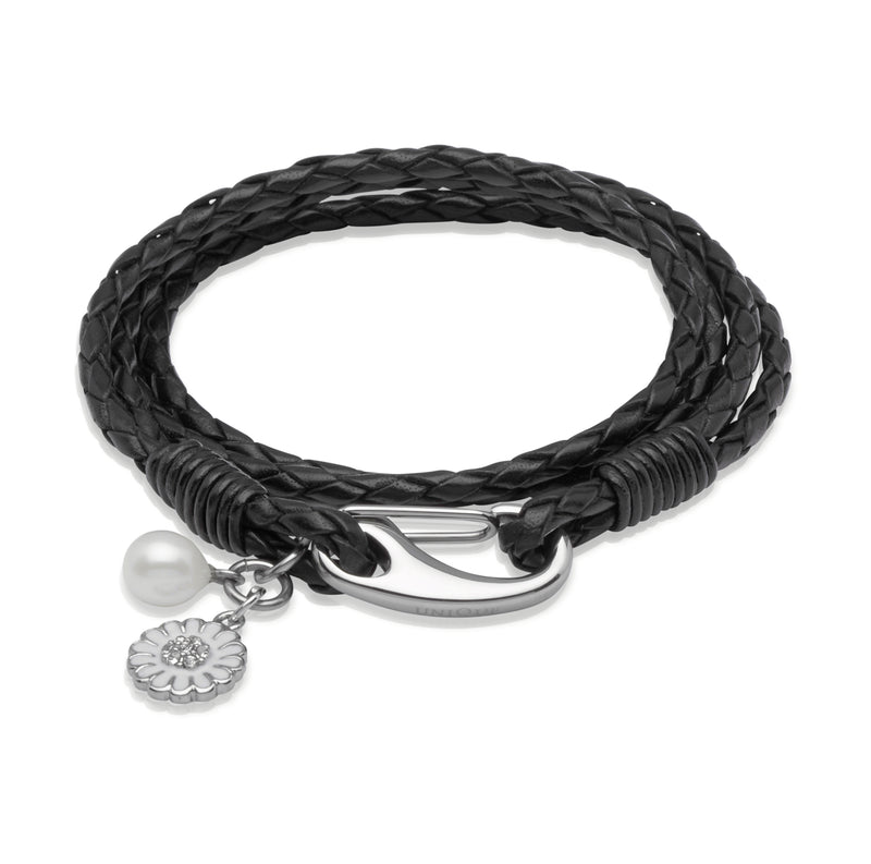 Unique & Co Ladies Black Leather Bracelet B229BL - Hamilton & Lewis Jewellery