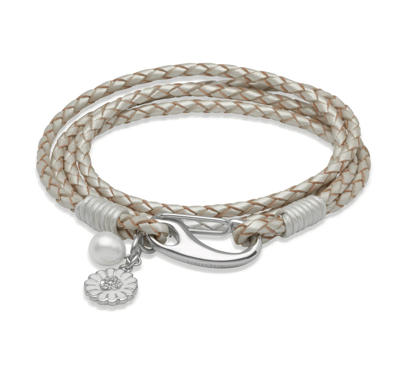 Unique & Co Ladies Pearl Leather Bracelet B229PE - Hamilton & Lewis Jewellery