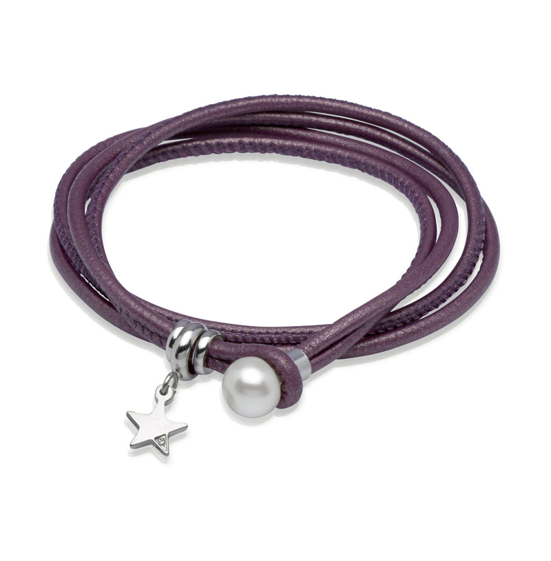 Unique & Co Ladies Berry Leather Bracelet B233BE - Hamilton & Lewis Jewellery