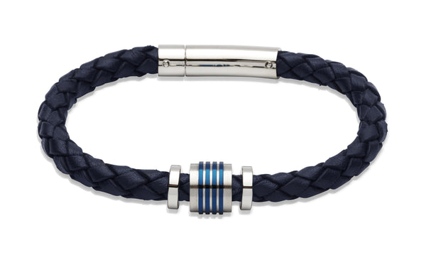 Unique & Co Navy Leather Bracelet B243NV - Hamilton & Lewis Jewellery