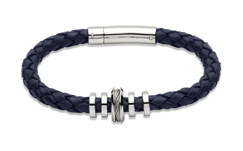 Unique & Co Navy Leather Bracelet B244NV - Hamilton & Lewis Jewellery