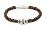 Unique & Co Antique Dark Brown Leather Bracelet B250ADB - Hamilton & Lewis Jewellery