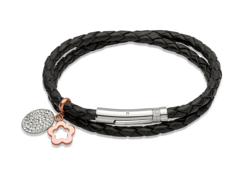 Unique & Co Ladies Black Leather Bracelet B266BL - Hamilton & Lewis Jewellery