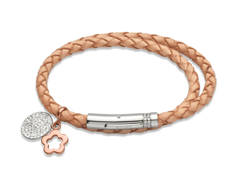 Unique & Co Ladies Natural Leather Bracelet B266NA - Hamilton & Lewis Jewellery