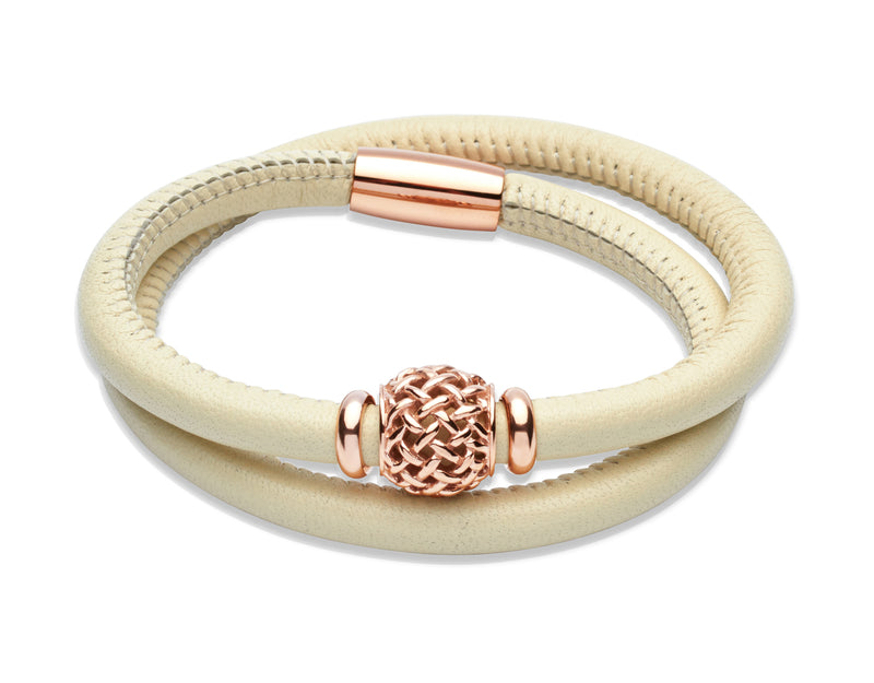 Unique & Co Ladies Ivory Leather Bracelet B270IV - Hamilton & Lewis Jewellery