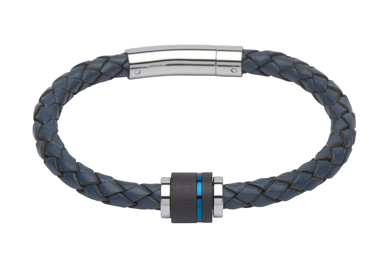 Unique & Co Blue Leather Bracelet B276BLUE - Hamilton & Lewis Jewellery