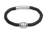 Unique & Co Black Leather Bracelet B277BL - Hamilton & Lewis Jewellery