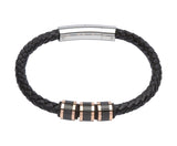 Unique & Co Black Leather Bracelet B278RO - Hamilton & Lewis Jewellery