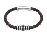 Unique & Co Dark Brown Leather Bracelet B279DB - Hamilton & Lewis Jewellery