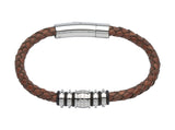Unique & Co Antique Brown Leather Bracelet B282AB - Hamilton & Lewis Jewellery