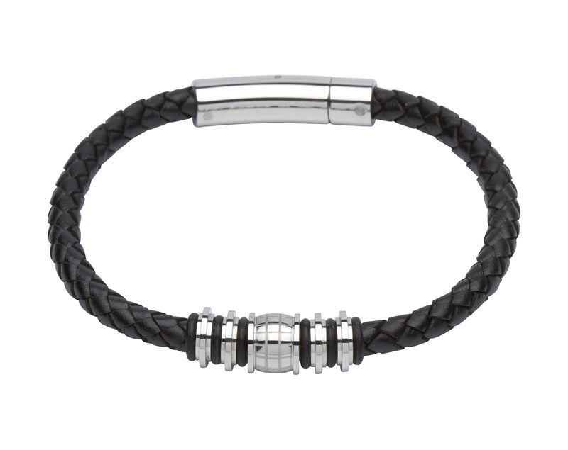 Unique & Co Black Leather Bracelet B282BL - Hamilton & Lewis Jewellery