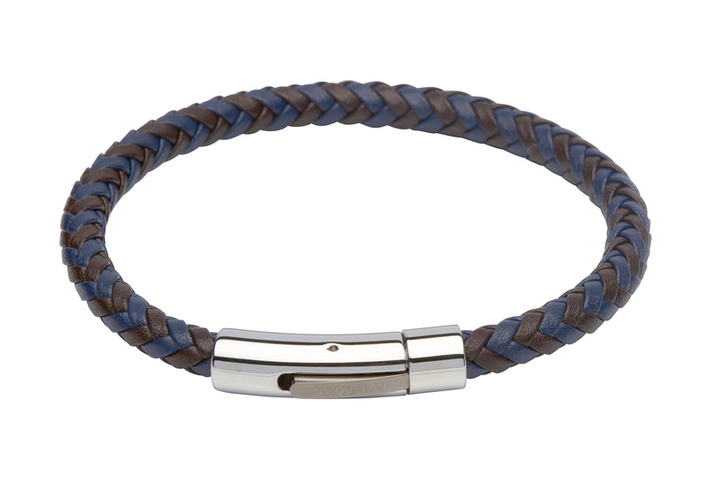 Unique & Co Dark Brown and Blue Leather Bracelet B284DB - Hamilton & Lewis Jewellery