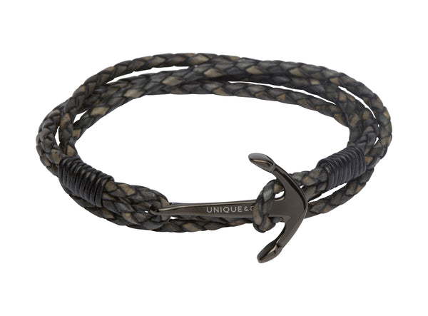 Unique & Co Antique Black Leather Bracelet B287ABL - Hamilton & Lewis Jewellery