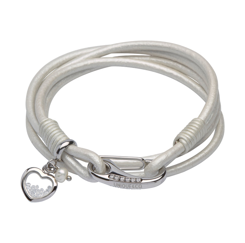 Unique & Co Ladies Pearl Leather Bracelet B299PE - Hamilton & Lewis Jewellery