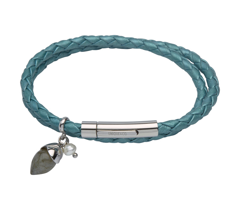 Unique & Co Ladies Truly Teal Leather Bracelet B301TT - Hamilton & Lewis Jewellery