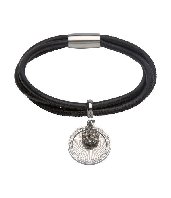Unique & Co Ladies Black Leather Bracelet B308BL - Hamilton & Lewis Jewellery