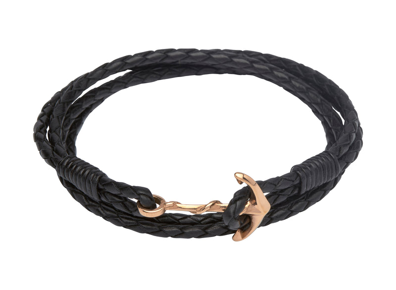Unique & Co Ladies Black Leather Bracelet B312BL - Hamilton & Lewis Jewellery