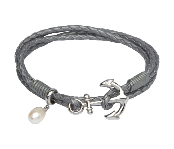 Unique & Co Ladies Silver Grey Leather Bracelet B313SG - Hamilton & Lewis Jewellery