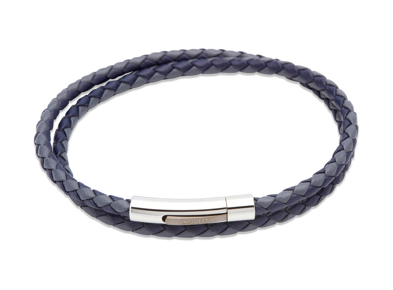 Unique & Co Blue and Grey Leather Bracelet B317BLUE - Hamilton & Lewis Jewellery