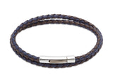 Unique & Co Dark Brown and Blue Leather Bracelet B317DB - Hamilton & Lewis Jewellery