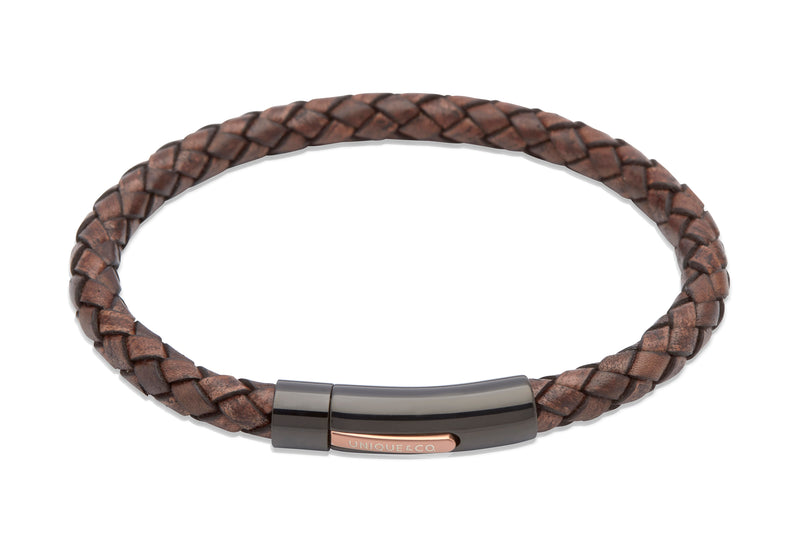 Unique & Co Antique Dark Brown Leather Bracelet B320ADB - Hamilton & Lewis Jewellery
