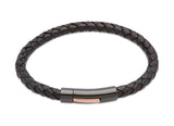 Unique & Co Black Leather Bracelet B320BL - Hamilton & Lewis Jewellery