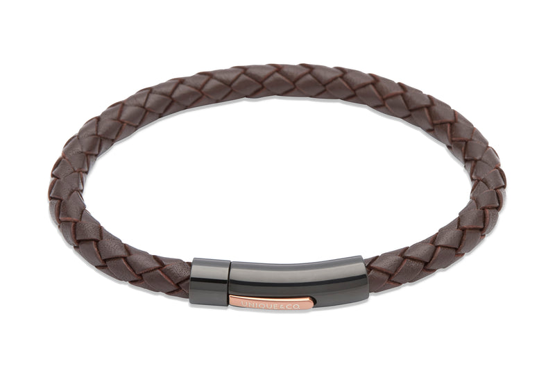 Unique & Co Dark Brown Leather Bracelet B320DB - Hamilton & Lewis Jewellery