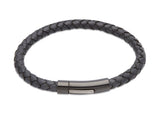 Unique & Co Navy Leather Bracelet B320NV - Hamilton & Lewis Jewellery