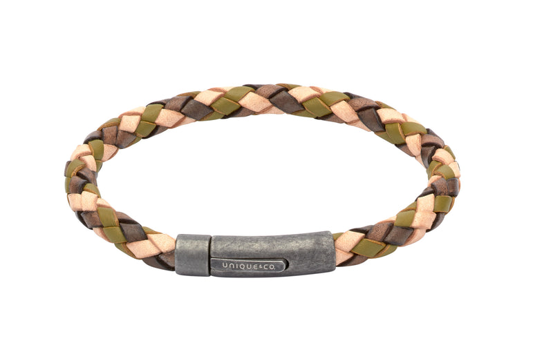 Unique & Co Camouflage Leather Bracelet B322CF - Hamilton & Lewis Jewellery