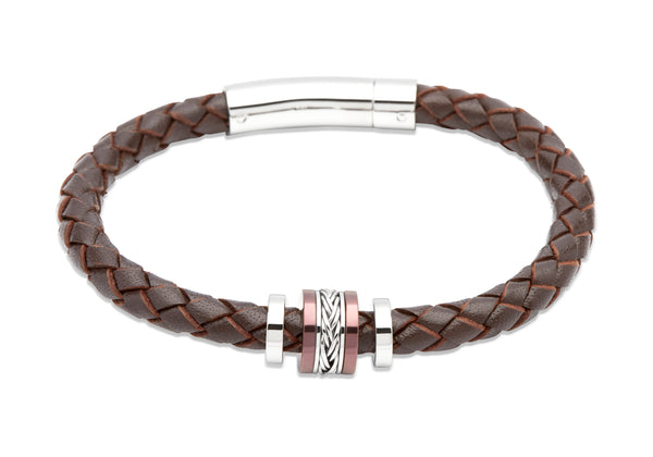 Unique & Co Dark Brown Leather Bracelet B325DB - Hamilton & Lewis Jewellery