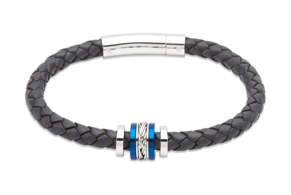 Unique & Co Navy Leather Bracelet B325NV - Hamilton & Lewis Jewellery