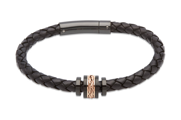Unique & Co Black Leather Bracelet B326BL - Hamilton & Lewis Jewellery