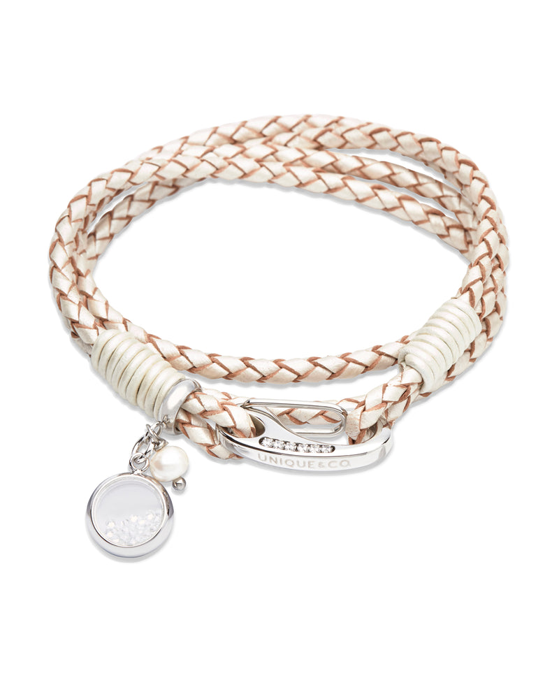 Unique & Co Ladies Pearl Leather Bracelet B333PE - Hamilton & Lewis Jewellery