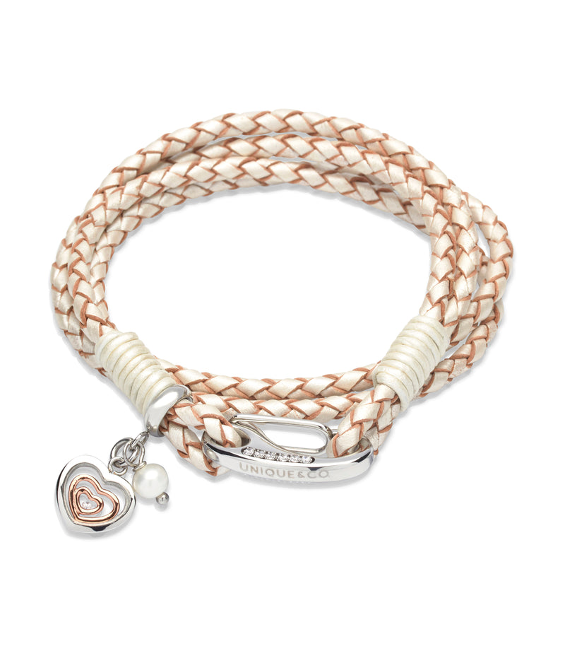 Unique & Co Ladies Pearl Leather Bracelet B334PE - Hamilton & Lewis Jewellery