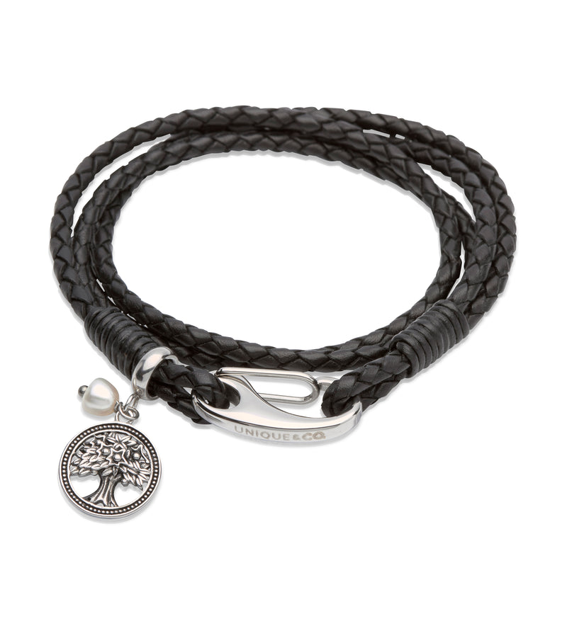 Unique & Co Ladies Black Leather Bracelet B337BL - Hamilton & Lewis Jewellery