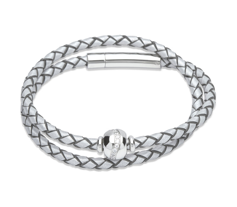 Unique & Co Ladies Luminous Silver Leather Bracelet B338LS - Hamilton & Lewis Jewellery