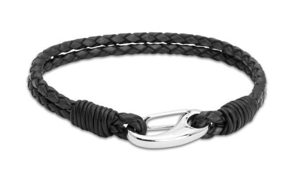 Unique & Co Stainless Steel Antique Black Leather Bracelet B33ABL - Hamilton & Lewis Jewellery