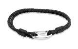 Unique & Co Stainless Steel Black Leather Bracelet B33BL - Hamilton & Lewis Jewellery