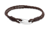 Unique & Co Stainless Steel Dark Brown Leather Bracelet B33DB - Hamilton & Lewis Jewellery