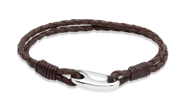 Unique & Co Stainless Steel Dark Brown Leather Bracelet B33DB
