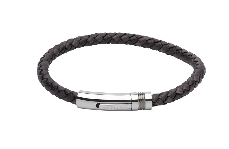 Unique & Co Antique Black Leather Bracelet B345ABL - Hamilton & Lewis Jewellery