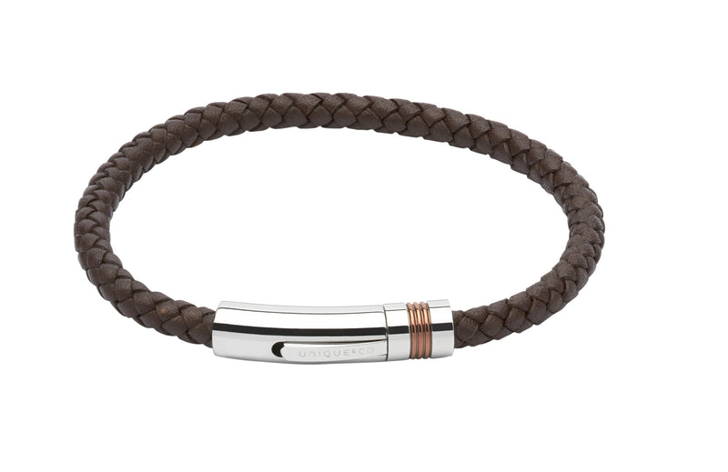 Unique & Co Dark Brown Leather Bracelet B345DB - Hamilton & Lewis Jewellery