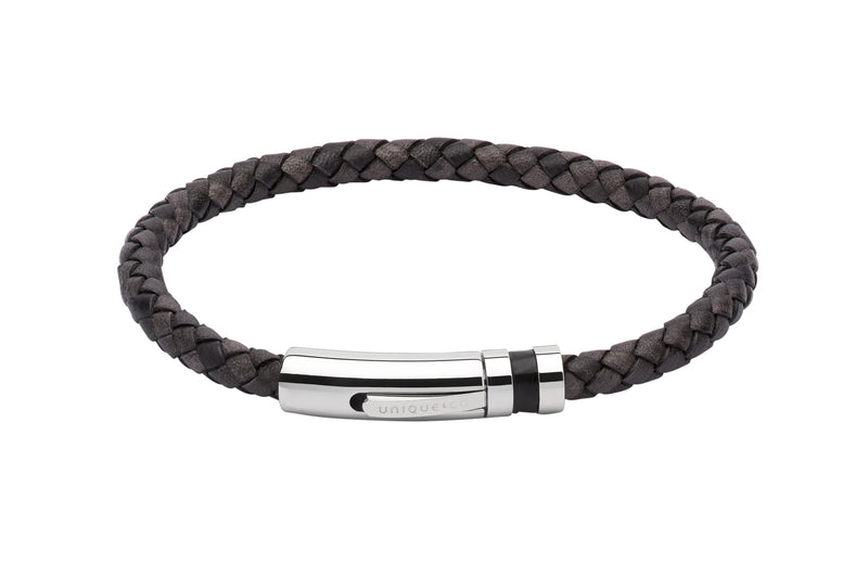 Unique & Co Antique Black Leather Bracelet B346ABL - Hamilton & Lewis Jewellery