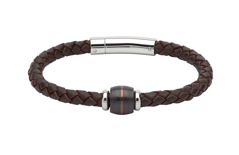 Unique & Co Dark Brown Leather Bracelet B349DB - Hamilton & Lewis Jewellery