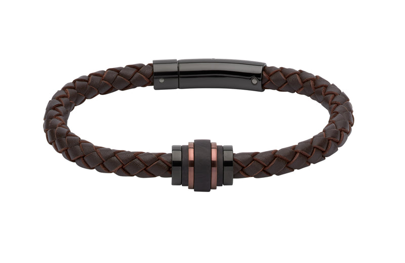 Unique & Co Dark Brown Leather Bracelet B351DB - Hamilton & Lewis Jewellery